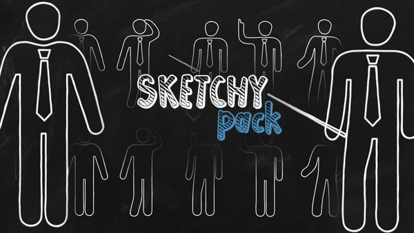 "14 animated pictogram pack of ""SKETCHY"" kit."