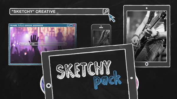 "5 Content and Gadgets frames pack of ""SKETCHY"" kit."
