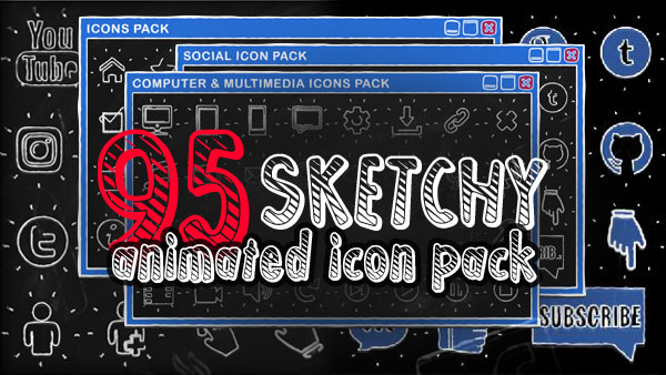 95 animated Icons & Buttons Pack