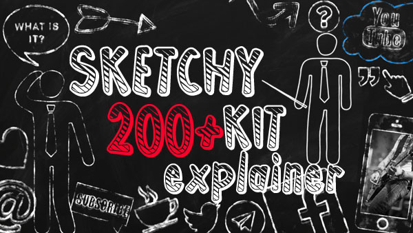 SKETCHY KIT 200+ explainer pack. Bundle of animated hand drawing icons , frames, arrows, pictograms